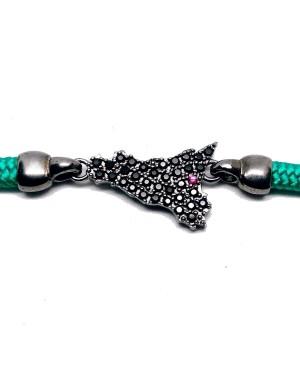 Bracelet Sicilia Gr Zirc Nero Cordino Verde IMBR192RU - 3 - Bracciali