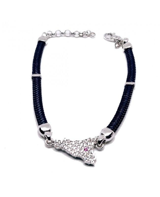 Bracelet Sicilia Gr Zirc Etna Cordino Blu Scuro IMBR192R - 1 - Bracciali