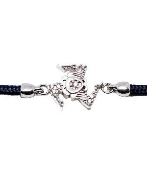 Bracelet Trinacria Pic Zirc Bia Cordino Blu Scuro IMBR191R - 3 - Bracciali