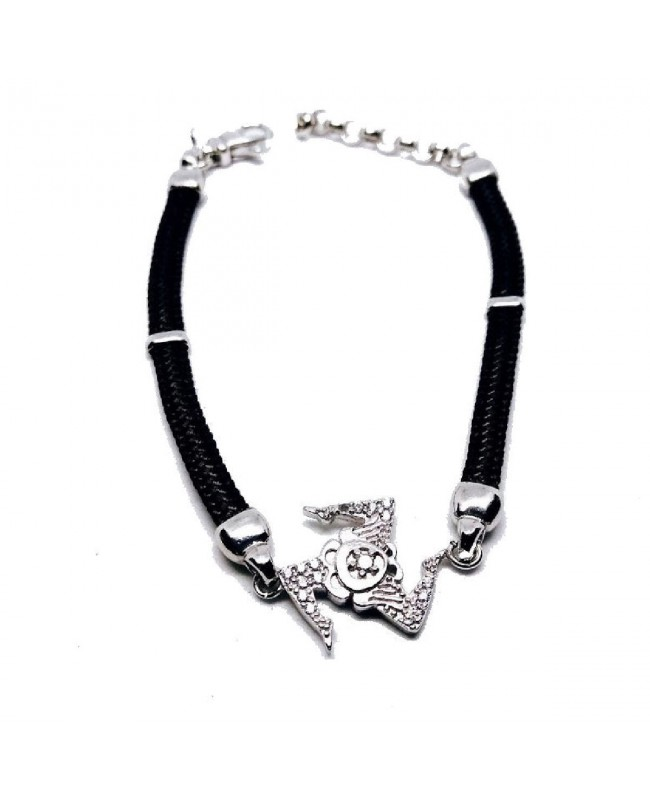 Bracelet Trinacria Gr Zirc Bia Cordino Nero IMBR190D - 1 - Bracciali