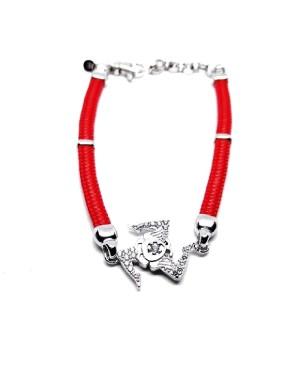Bracciale Trinacria Gr Zirc Bia Cordino Rosso IMBR190R - 1 - Bracciali