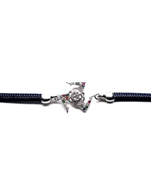 Bracelet Trinacria Gr Zirc Col Cordino Blu Scuro IMBR190R - 2 - Bracciali