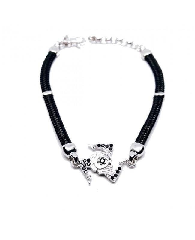 Bracelet Trinacria Gr Zirc Nero Cordino Nero IMBR190R - 1 - Bracciali