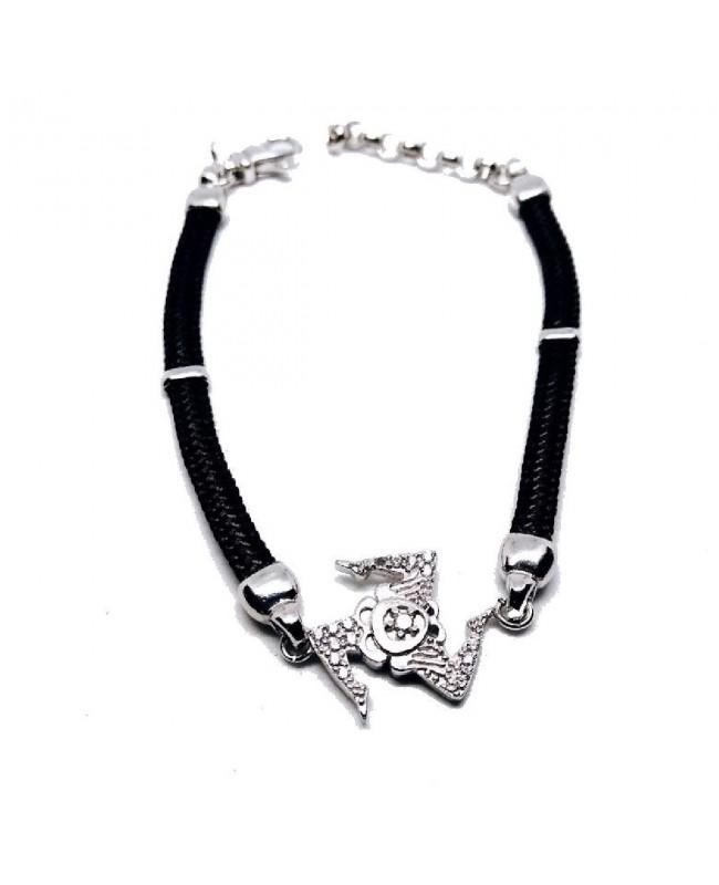Bracelet Trinacria Gr Zirc Bia Cordino Nero IMBR190R - 1 - Bracciali