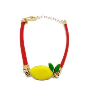 Bracciale Limone Cordino Rosso Gr IMBR23D - 1 - Bracciali