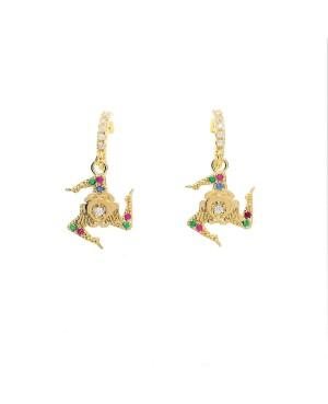 Earrings Trinacria Zirc Mezza Boccola IMORD - 1 - Orecchini
