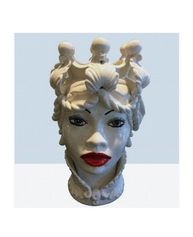 Vaso Testa di Moro HF BIANCO DECORO 33 RM - 1 - Ceramica