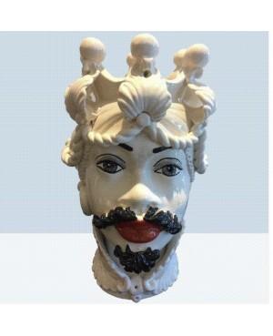 Vaso Testa di Moro HKF BIANCO DECORO 42 RM - 1 - Ceramica