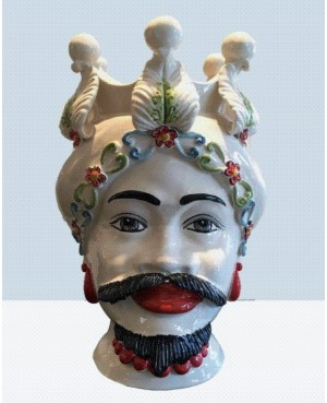Vaso Testa di Moro HKF BIANCO FIORE 42 SM - 1 - Ceramica