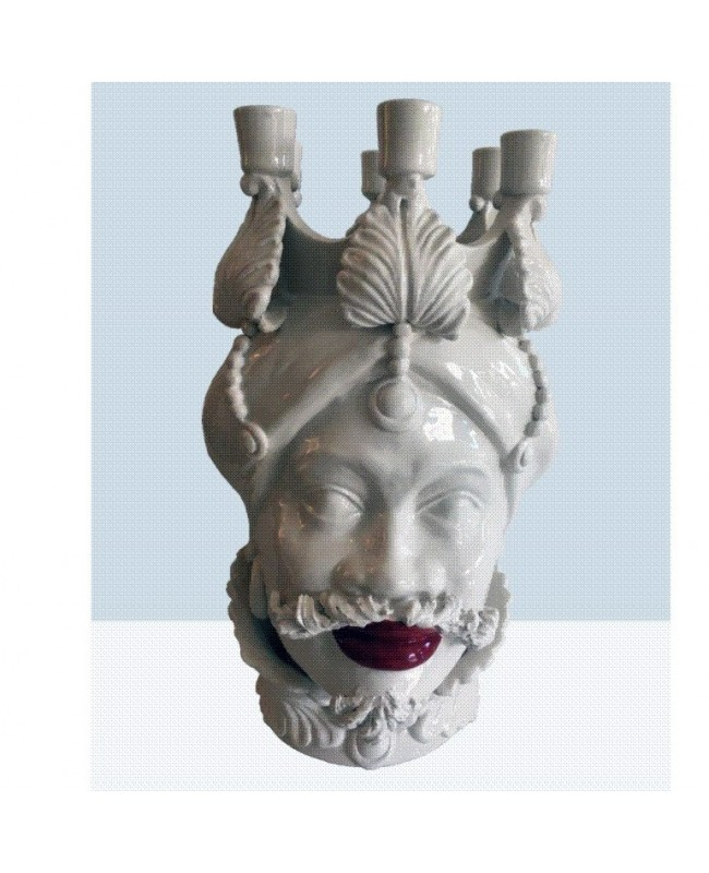 Vaso Testa di Moro HKF BIANCO CANDELABRO 42 SM - 1 - Ceramica